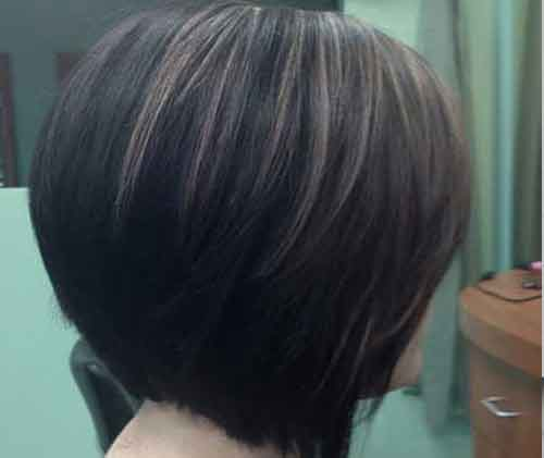 Stacked Haircut Classic Bob Back View Hairstyle
